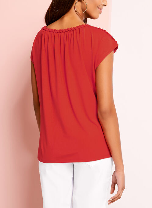 Braided Trim Jersey Top, Red, hi-res
