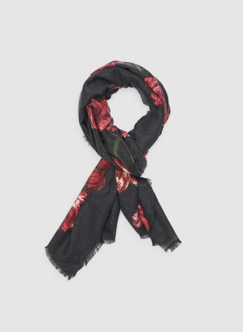 Floral Print Scarf, Black, hi-res,  long scarf, lightweight, floral print, fall 2019, winter 2019