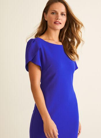 Short Tulip Sleeve Dress, Blue,  dress, day dress, sheath, short sleeves, tulip sleeves, stretchy, spring summer 2020