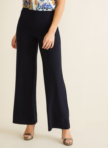 Wide Leg Jersey Pants, Blue,  dress pants