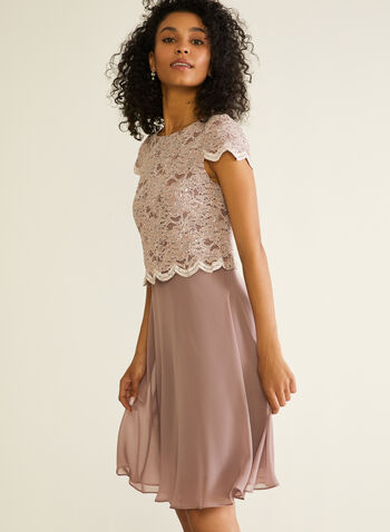 Lace & Chiffon Cocktail Dress, Pink,  cocktail dress, lace, sequins, scalloped, chiffon, spring summer 2020