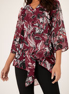 Asymmetric Floral Print Tunic, Red, hi-res