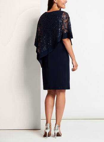 Sequined Lace Poncho Dress, Blue, hi-res