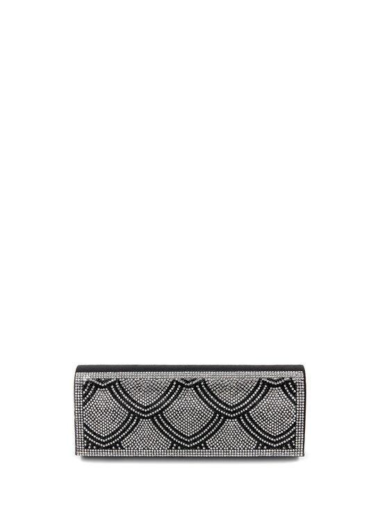 Crystal Embellished Foldover Clutch, Black, hi-res