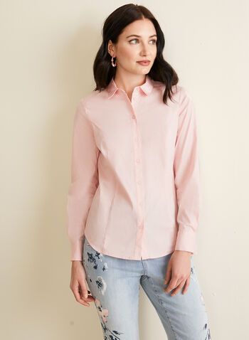Collared Button Down Blouse, Pink,  shirt, blouse, button down, collared, long sleeves, stretchy, spring summer 2020