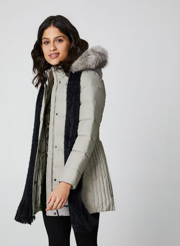 Anne Klein - Faux Fur Down Coat, Off White, hi-res,  coat, faux fur hood, down, knit, quilted, anne klein, fall winter 2019