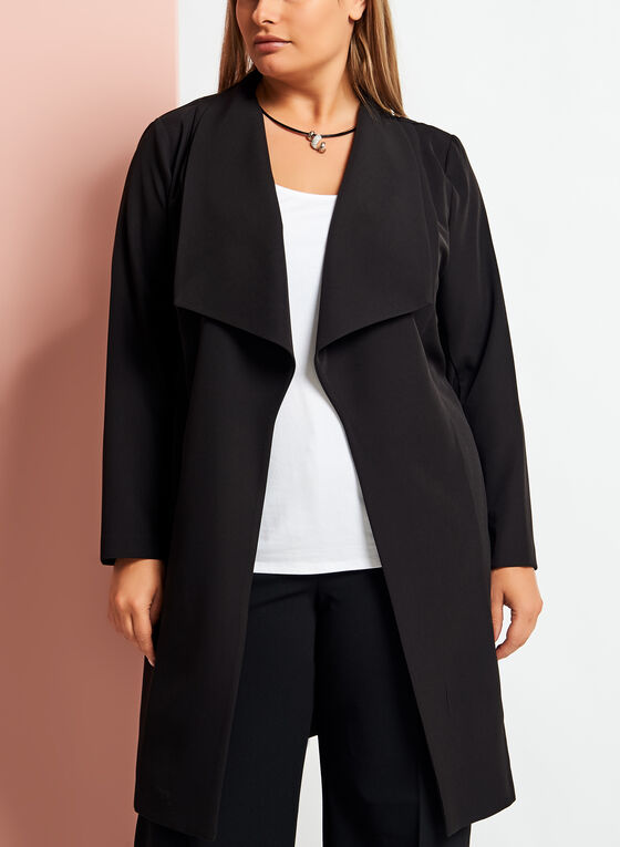 3/4 Sleeve Cascade Front Duster , Black, hi-res