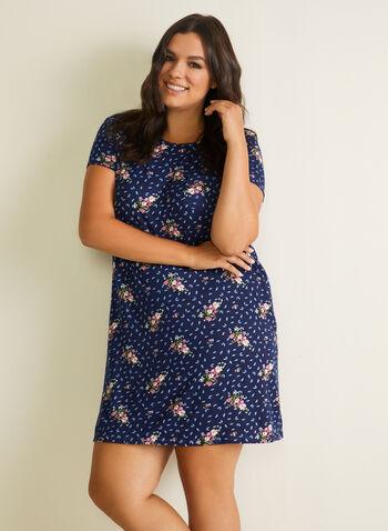 Chemise de nuit motif floral, Bleu,  pyjama, chemise de nuit, feuilles, fleurs, manches courtes, printemps été 2020