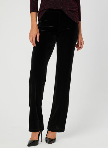 Modern Fit Velour Pants, Black, hi-res