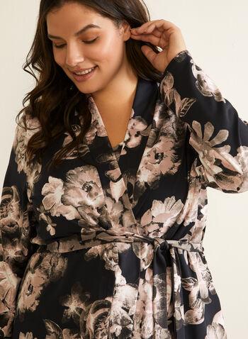 Floral Print Robe & Nightshirt, Black,  sleepwear, robe, nightshirt, floral print, fall winter 2020