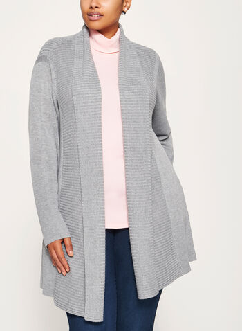 Long Open Front Cardigan, Grey, hi-res