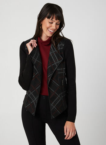 Plaid Print Jacket, Black,  fall 2019, winter 2019, knit, ribbed, long sleeves, faux suede, zippers, open front,