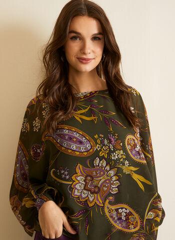 Blouse volantée à motif cachemire, Vert,  automne hiver 2020, blouse, manches longues, volants, asymétrique, mousseline