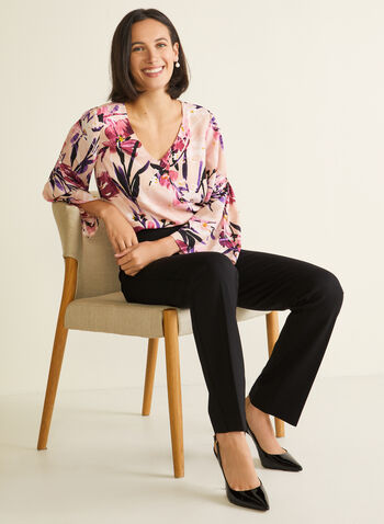 Floral Print Bell Sleeve Blouse, Multi,  blouse, floral print, bell sleeves, v-neck, spring summer 2020