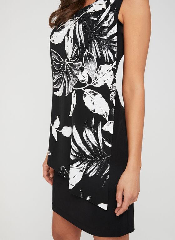 Robe à effet drapé et motif floral, Noir, hi-res