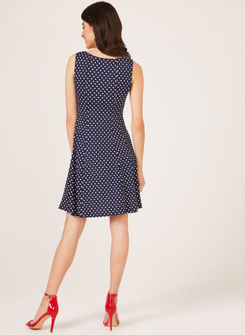 Polka Dot Print Fit & Flare Dress, Blue, hi-res