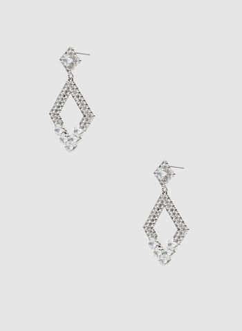 Boucles d'oreilles à losanges et cristaux, Argent, hi-res,  boucles d'oreilles, losanges, cristaux, automne hiver 2019