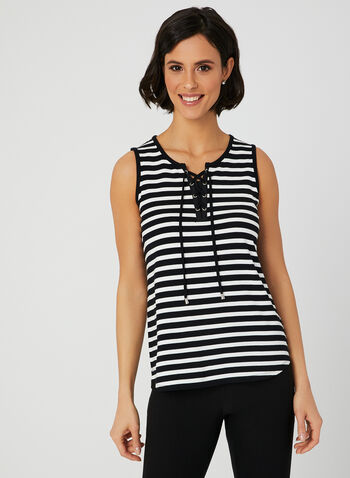 Stripe Print Sleeveless Top, Blue,