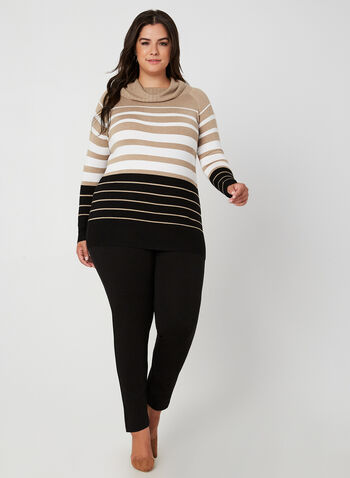 Stripe Print Long Sleeve Sweater , Brown, hi-res,  sweater, long sleeves, stripe print, marilyn collar, knit, fall 2019, winter 2019