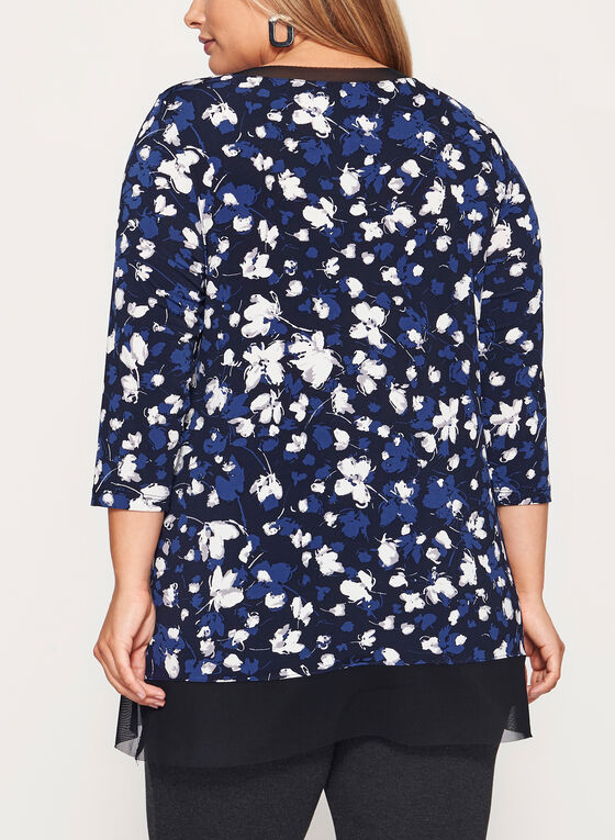 Tunique fleurie asymétrique à manches ¾, Bleu, hi-res
