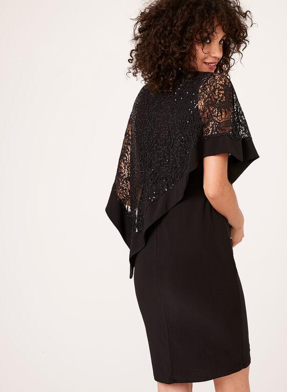 Robe avec poncho asymétrique à paillettes, Noir, hi-res