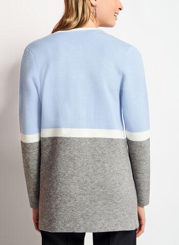 Colour Block Double Knit Cardigan, Blue, hi-res