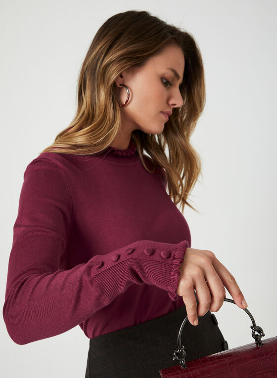 Mock Neck Sweater, Purple