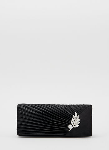 Pleated Pearl Detail Clutch, Black, hi-res