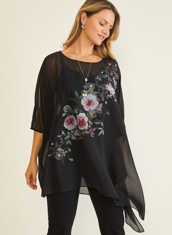 Floral Appliqué Poncho Blouse, Black,  top, poncho, blouse, asymmetric, chiffon, floral, appliqué, fall winter 2020