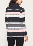 Funnel Neck Stripe Knit Pullover, Grey, hi-res