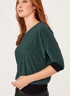 ¾ Dolman Sleeve Contrast Blouse , Green, hi-res