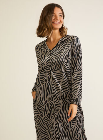 Zebra Print Velour Nightgown, Brown,  fall winter 2020, pajamas, nightgown, pyjamas, zebra print