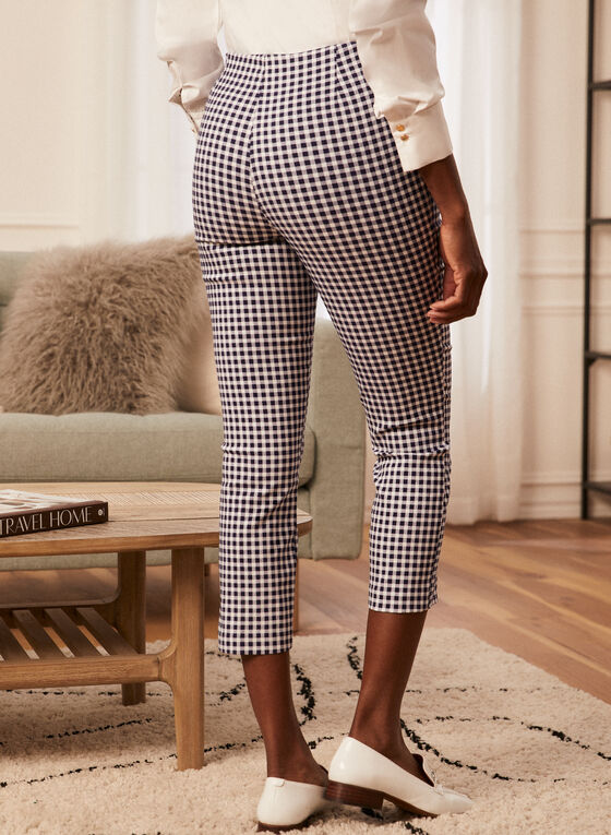 Gingham Print Pull-On Capris, Blue
