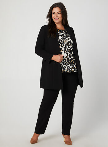 Leopard Print Top, Grey, hi-res,  lace trim, ¾ sleeves, 3/4 sleeves, animal print, scoop neck, fall 2019, winter 2019