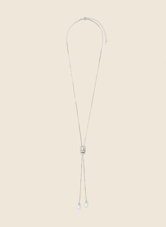 Pearl Bolo Necklace, Silver