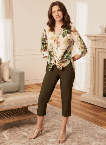 Floral Print Long Sleeve Blouse, White,  spring summer 2021, long sleeves, V-neck, tropical print, asymmetric fit, buttonholes, tie detail, bow detail, knot detail, breast pocket, holiday, holiday 2020, gift, roll up sleeves