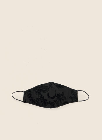 Flocked Floral Mask, Black,  mask, floral, flocked, reusable, washable, fall winter 2020