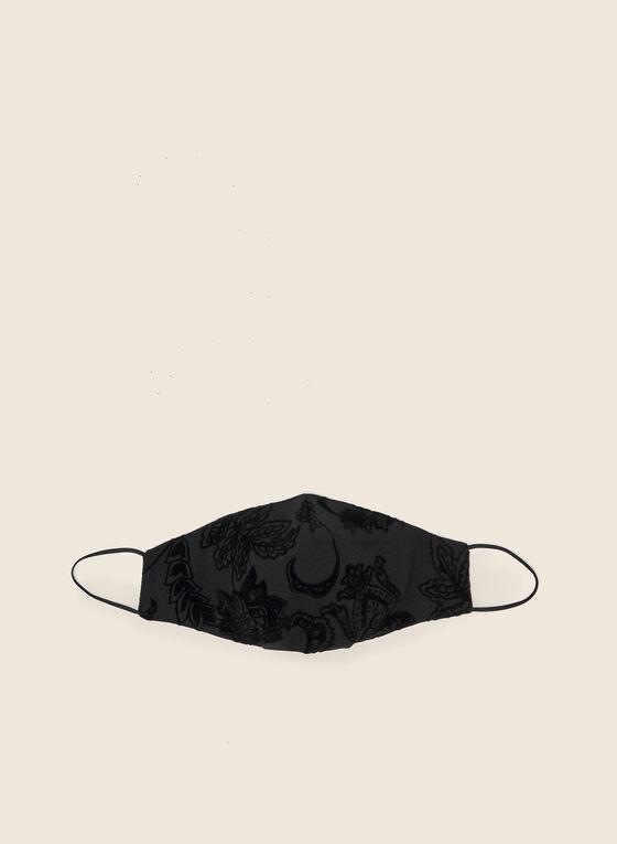 Flocked Floral Mask, Black