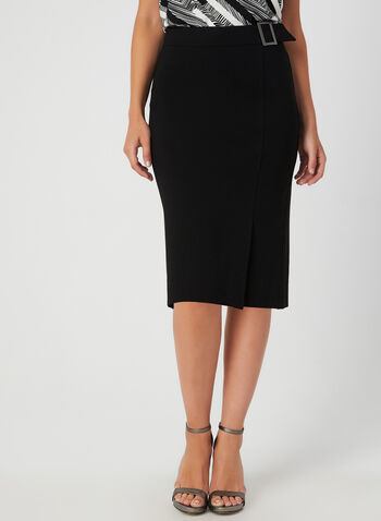 Buckle Detail Pencil Skirt, Black, hi-res,  pencil skirt, stretchy, faux belt, fall 2019, winter 2019, stretchy