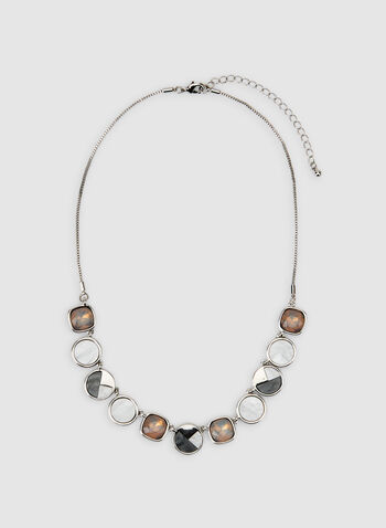 Geometric Facetted Pendant Necklace, Grey, hi-res,