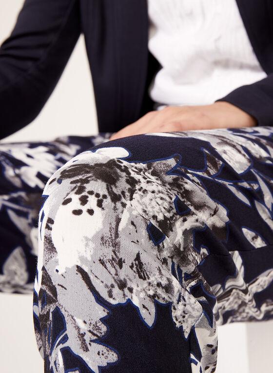 Pantalon fleuri pull-on longueur cheville, Bleu, hi-res