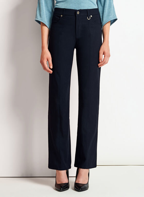 Simon Chang - Micro Twill Straight Leg Pants, Blue, hi-res