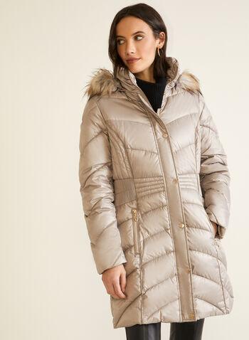 Iridescent Vegan Down Coat, Brown,  fall winter 2020, coat, quilted, iridescent, down, vegan, hood, faux fur, pockets, winter coat