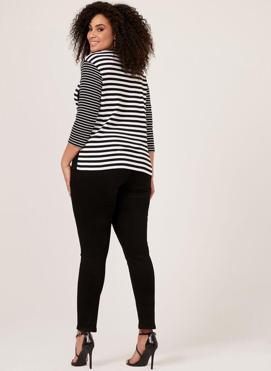 T-shirt rayé à col tunisien lacé, Noir, hi-res