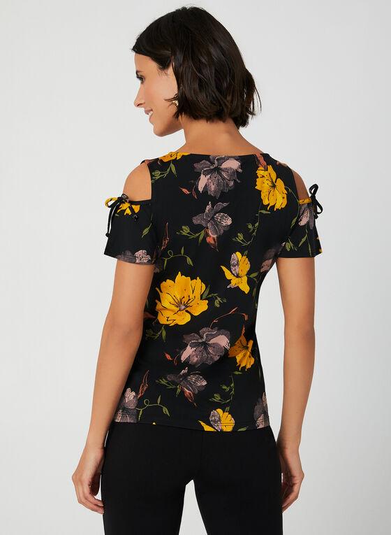 Cold Shoulder Floral Print Top, Black, hi-res