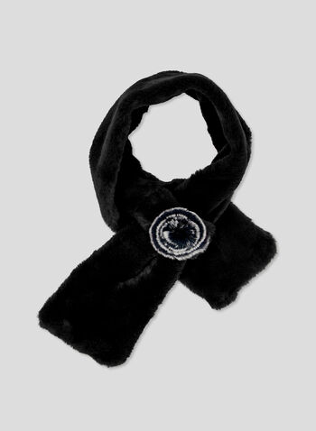 Fur Pull Through Scarf, Black, hi-res
