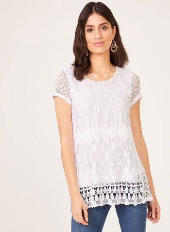 Linea Domani - Crochet Detail Top, White, hi-res