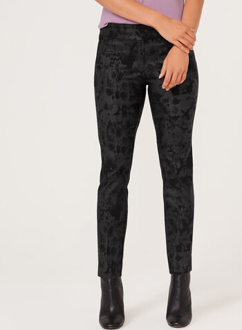 Floral Print Pull-On Slim Leg Pants, , hi-res