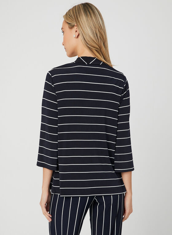Stripe Print Open Front Top, Blue, hi-res