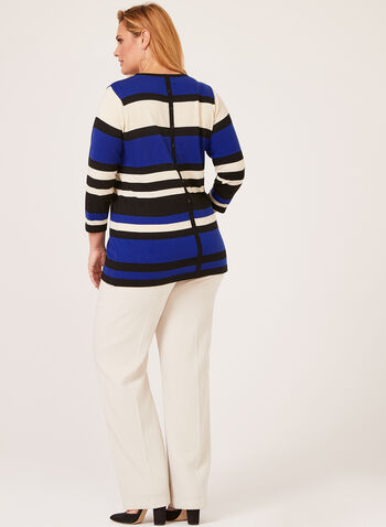 ¾ Sleeve Crew Neck Sweater, Blue, hi-res